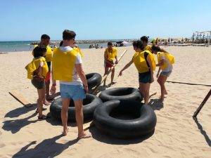 Team building beach activity